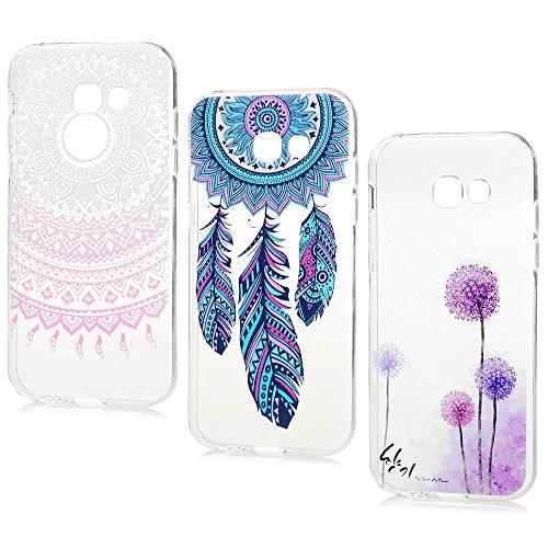 Lot de 3 Samsung Galaxy A5 2017 Coque - Lanveni Phone Case de Protection en TPU Souple Ciselé Dessin Coloré Flexible Cover Antichoc - Totem+Pissenlit+Campanule