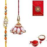 #9: Gomati Ethnic Traditional Rajasthani Fancy Bhaiya Bhabhi Rakhi Gift Set Rakhi For Brother With Gift Combo And Rakhi For Bhaiya Bhabhi Combo Free Shipping+Roli+Chawal+Greeting Card !!-1Bbs156