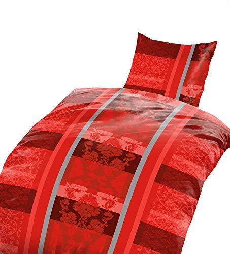 4tlg Warme Winter Bettwäsche Coralfleece Flausch - Nicky Plüsch 2X 135x200 + 2X 80 x80 Rot