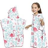 Strandtücher für Kinder Kinder, die Badetuch Flamingo Druck mit Kapuze Strandtuch Poncho für Surfen, Schwimmen, Tauchen, Nassanzug ändern Handtuch mit Kapuze ( Farbe : Weiß , Größe : L(121-150cm) )