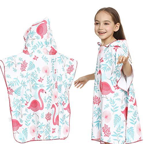 Y-clothing Beach - Bademantel Kinder, die Badetuch Flamingo Druck mit Kapuze Strandtuch Poncho für Surfen, Schwimmen, Tauchen, Nassanzug ändern (Farbe : Weiß, Größe : M(90-120cm))