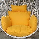 MSM Sedia in Rattan Cuscino, Addensare Culla Sedia di Vimini Comfort Cuscino per Sedia Lavabile, Non includere Una Sedia sospesa-Giallo 60x50x30cm