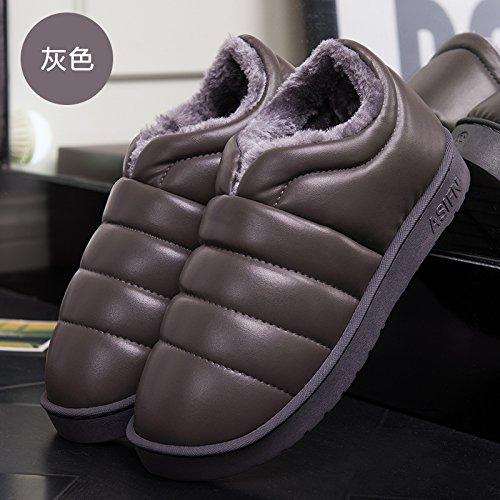 DogHaccd pantofole,Inverno di cotone femmina pantofole home home interno coppie maschio camera ha un antiscivolo caldo impermeabile spesse pantofole di cotone con il pacchetto Grigio3