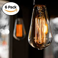 6-Pack Edison Light Bulb, Antique Vintage Style Light, Amber Warm, Dimmable E27 (60w/220v) (Pack of 6)