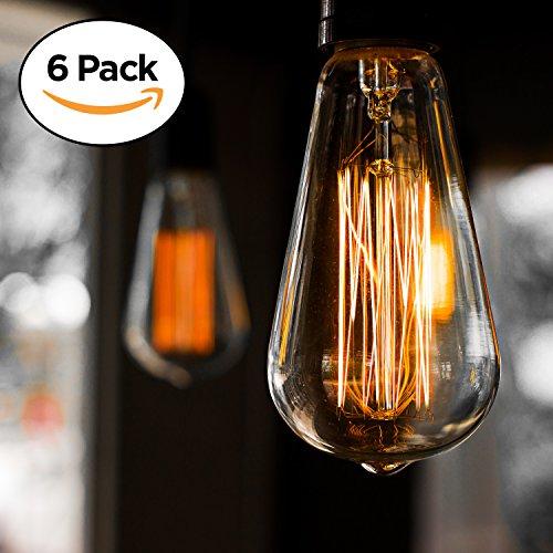 Paquete de 6 bombillas Edison E27 estilo antiguo, luz cálida, regulable (60w/220v)