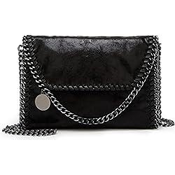 Valleycomfy bolso de mujer elegante bolso de hombro correa de cadena metálica bolso de cuero de la PU bolsos cruzados bolsa de embragues, negro
