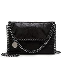 Valleycomfy Women Handbag Elegant Shoulder Bag Metallic Chain Strap Pu  Leather Crossbody Borse a tracolla d74fc581be3