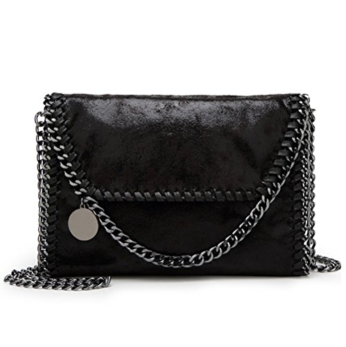 Valleycomfy bolso de mujer elegante bolso de hombro correa de cadena metálica bolso de cuero de la PU bolsos cruzados bolsa de embragues (negro)