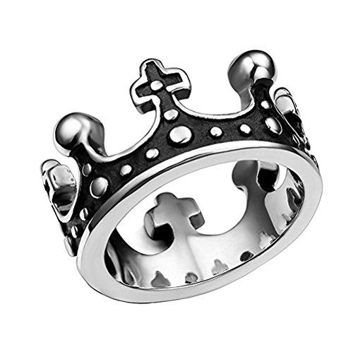 HIJONES Herren Edelstahl Antike Silber Ton Schwarze Königliche König Kronen Ring Größe 70