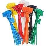LEEQ☛ 140 pièces de Serre-câbles en Nylon avec Fermeture Éclair pour marqueur, Cordon Auto-bloquant, étiquettes de marquage, 15,2 cm de Long, 7 Couleurs
