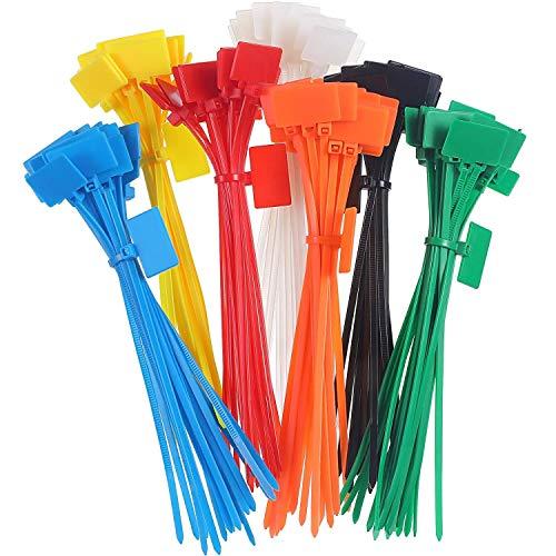 LEEQ 140 Stück Reißverschlussbänder Nylon Kabelbinder Markerbinder, selbstschließende Schnur Stromherstellung Etiketten, 15,2 cm Länge, 7 Farben -