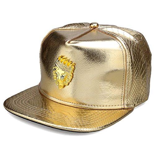 MCSAYS hip hop gold crown löwenkopf mit strass pu leder sport caps baseballkappe / hut mann (gold) (Crown Cap Hüte)