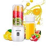 Basuwell - Frullatore multifunzione, 420 ml, con 6 lame in acciaio INOX, ricaricabile tramite USB, mini frullatore per frutta e verdura, da viaggio, senza BPA, colore: bianco
