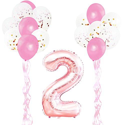KUNGYO Rose Gold Geburtstagsparty Dekorationen Kit für Erwachsene Kinder-FolienBallon Zahl 2 in Roségold-XXL Riesenzahl 100cm, Sterne Folienballons, Rosa Latex Konfetti Ballons und Bänder