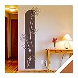 Exklusivpro Wandtattoo florales Blumen Wandbanner Viviana mit SWAROVSKI Strass Wohnzimmer Schlafzimmer (ban11 haselnussbraun) 150 x 48 cm mit Farb- u. Größenauswahl