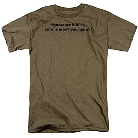 Ignorance Is Bliss - Adult Safari Green S/S T-Shirt For Men, XX-Large, Safari Green