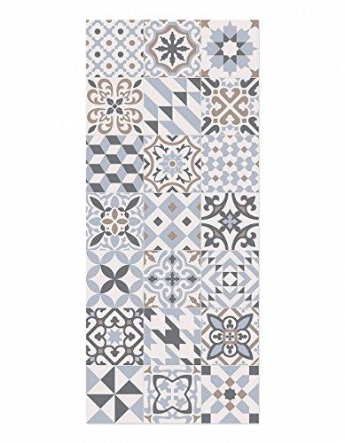 ALFOMBRA DE COCINA antideslizante e ignífuga. Se limpia fácilmente con una fregona. Made in Barcelona. Suelo hidráulico en tu cocina sin hacer obras. Eclectic Grey 60x140cm.