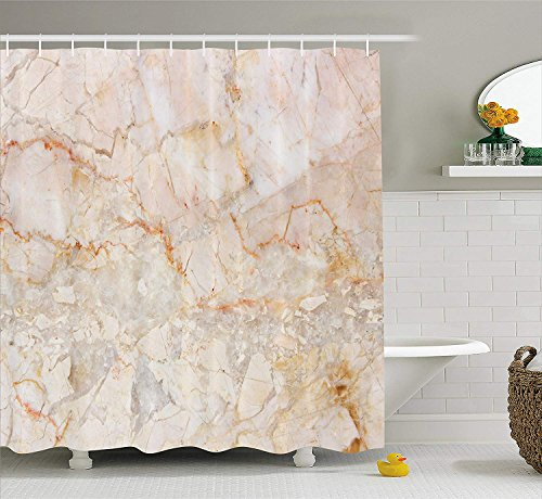 JIEKEIO Marble Shower Curtain, Mine Pattern Design Natural Fractures Realistic Stained Surface Art Print, Fabric Bathroom Decor Set with Hooks, 60 * 72inchs Long, Orange Sand Brown Navy Seersucker