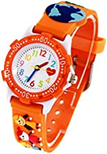 3D Reloj para Niños Niñas Analógico de Cuarzo Aprender horas - Somos Familia Mundo en Paz - Naranja - con caja de regalo