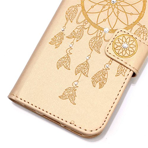 Mk Shop Limited [Coque iPhone 6S Plus] Fine Folio Wallet/Portefeuille en Bonne Qualité PU Cuir Housse pour iPhone 6S Plus Coque antichoc Gaufrage Motif avec Diamant Briller Bookstyle Flip Case Intérie Multi-couleur 36