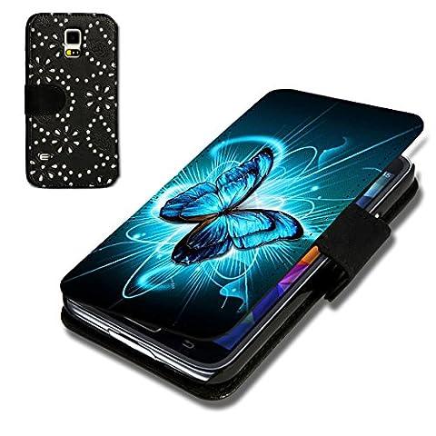 Book Style Strass Glitzer Flip Handy Tasche Case Schutz Hülle Schale Motiv Foto Etui für Samsung Galaxy Note Edge - Strass F5