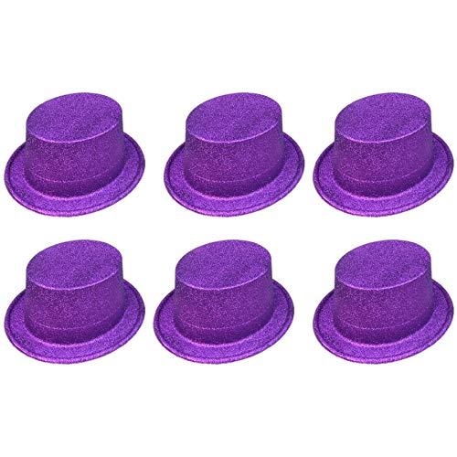 Teen Kostüm Cowgirl - FXXUK Glitter Kostüm Hut Kunststoff Zylinder Unisex Kopfbedeckung Zubehör für Halloween Kostüme Bühnenshow Tanzshow,Lila,24PCS