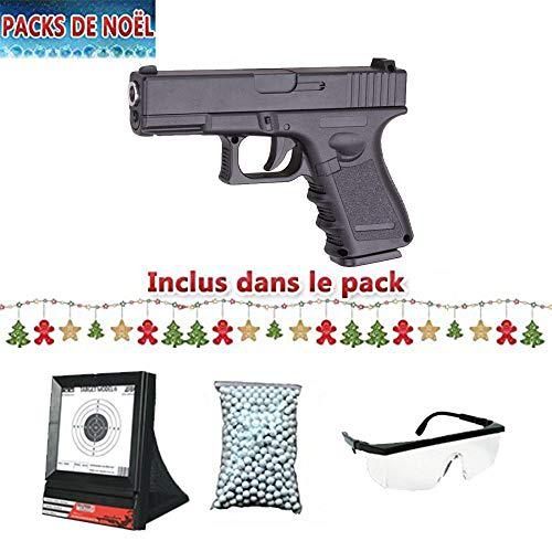 Galaxy Pack Cadeau De Noel Airsoft G15 Noir Full Metal à Ressort/Spring/Rechargement Manuel Lunette, Billes et cibles Filet Cadeaux (0.5 Joule) - G15