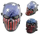 AIRSOFT Teschio Pieno Facciale Maschera Di Protezione protezione militare Paintball Halloween costume htuk®, Blue/Red/White Stars