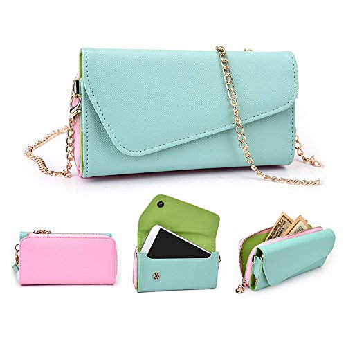 Kroo d'embrayage portefeuille avec dragonne et sangle bandoulière pour Blu Life One XL Black and Orange Green and Pink