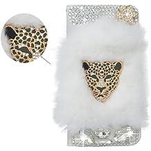 Spritech - Funda para teléfono móvil, piel sintética, diseño con pelo, diamantes y leopardo, con ranura para tarjetas de crédito