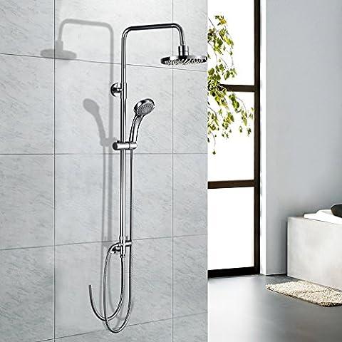 Columna ducha pared,Auralum® 2 in 1 Set de ducha con 3 jets Alcachofas móviles ducha mango + alcachofa ducha lluvia ronda cromo conjunto ducha,880-1265mm