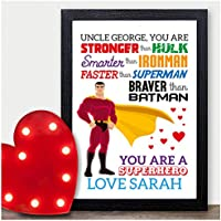 Personalised Uncle Christmas Gifts Super Hero Xmas Present Keepsake Print - PERSONALISED with ANY NAME and ANY RECIPIENT - Black or White Framed A5, A4, A3 Prints or 18mm Wooden Blocks