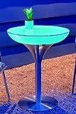 Moree Lounge Tisch, Akku, LED beleuchtet, Ø 60 cm, H 75 cm, inkl. Glasplatte, ABS glänzend, weiß transluzent, Aluminium gebürstet, eloxiert, mit Vielfarben LED, mit Fernbedienung und Akku, für Innen