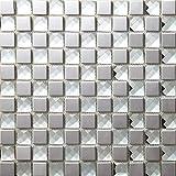 Plata Piedras de Strass Mosaico de vidrio de acero inoxidable Azulejos de mosaico color mixto acero inoxidable mosaico 300*300mm Cocina backsplash / ducha de pared de la pared de la pared / Hotel pasillo pared de la frontera / piso residencial de piso y aplicaciones de la pared SB015-12 (11 pieza/㎡)