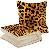 i FaMuRay DIY Bed Cuscino e Coperta Furry Leopard Print