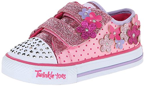 Skechers Girls Shuffles Pretty Blossoms Low-Top Trainer Pink Pink (PKHP) Size:6 UK/23 EU