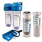 PureOne BAS2 BioActive-Set. 2-Stufige Filteranlage 10 Zoll. Schadstoffe, Geschmack, Keime und Sporen. Filtergehäuse mit Aktivkohle- und Keimfilter (Keramik). Für Hauswasserwerk, Zisterne 1 Zoll