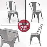 Pack de 4 sillas vintage ASUAN con estructura metálica inspiración TOLIX