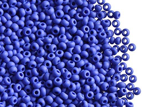 20gr 9/0 (2,4-2,8 mm) Seed Beads - Ceco rotondo Perle di Rocailles con foro rotondo, Blue Opaque Matte