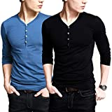 iLoveSIA Mens Henley T-shirts With Long Sleeve Slim Fit Button Placket