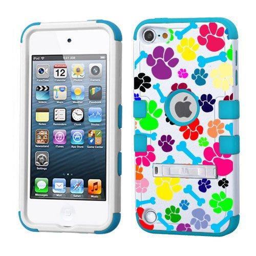 iPod Touch 5. 6. Generation Weiß Kunststoff/Blau Silikon 3-Stil Hybrid Hard Schutzhülle für Apple- für Mädchen und Boys-Shockproof Staubfrei, mit Ständer, Animal Footprints with Bones Blue