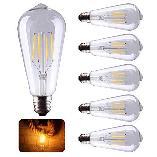 5X E27 4W LED Lampen Retro Edison Glühlampen , Ersatz für 40W Glühlampen,Filament LED Birnen, Leuchtmittel Warmweiß 2200K, 450 Lumen Kerze mit 360° Abstrahlwinkel