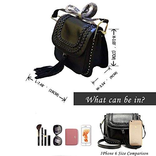 Sheli Fashion Trend Dotcom liscia vitello mini Sella con nappa di vitello e trecce, Nero e kaki Black