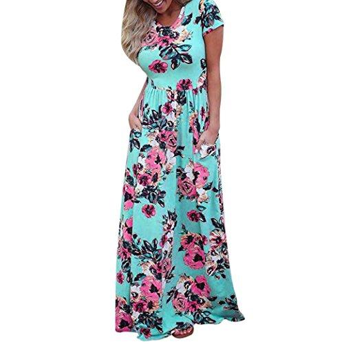 Gedruckt Kette Bikini-top (DOLDOA Frauen Sommer Kurzschluss Hülsen Blumen gedrucktes langes Maxi Kleid (Größe: 40 Fehlschlag: 90cm / 35.4