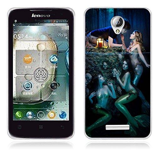 Fubaoda Lenovo A5000 Hülle, [Meerjungfrau] Künstlerische Malerei-Reihe TPU Case Schutzhülle Silikon Case für Lenovo A5000