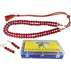 CHAKRADHARI Jade Gemstone Freesize Red Ruby Necklace Set for Female All Rashis AGMR1