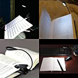 Amir 4 LED Book Light, Music Stand Light Lamp, Rechargeable and Flexible, Daylight White, Travel Light, Clip Light with Stand, for Reading at Night and eye-friendly with USB Cable & AC Charger