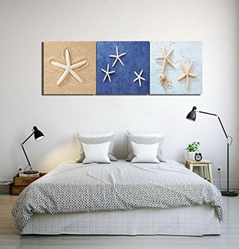 LB Playa,Estrella de Mar,Arena/Impresión de Imagen en Lienzo,Pintura al Óleo Lienzo Arte de la Pared Decoración del hogar,3 Paneles Decoración de la Pared,40 x 40 cm,Listo para Colgar