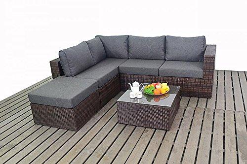 Moderno piccolo da giardino in rattan, mensola angolare, 2modular 2posti e tavolino, cuscini spessi, set di mobili da giardino, marrone