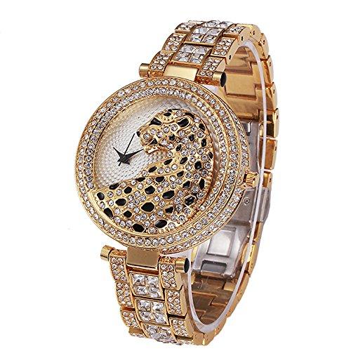 Sheli Frauen-Einzigartiges Entwurfs-Gold überzog Kristallbetonte Leopard-Gelbe Zifferblatt-Armband-Armbanduhr